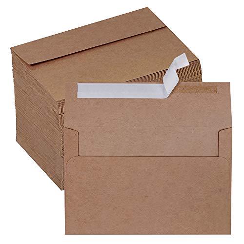 150 Pcs Bulk A9 Invitation Envelopes Self Seal Greeting Card Envelopes Photo Envelopes Brown Kraft Envelopes Square Flap Envelopes for Wedding Holiday Baby Shower Invitations Announcement Mailing