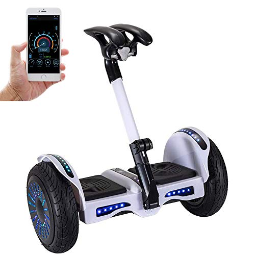 Smart Self-Balancing Electric Scooter, 10' Tires Balance Hoverboard with LED Light, Bluetooth APP Management, Easier to Ride and Safer for Kids and Adults - White
