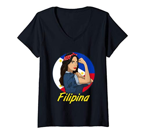 Womens Philippines Pinay Filipina Pride Strong Proud Women Wife V-Neck T-Shirt