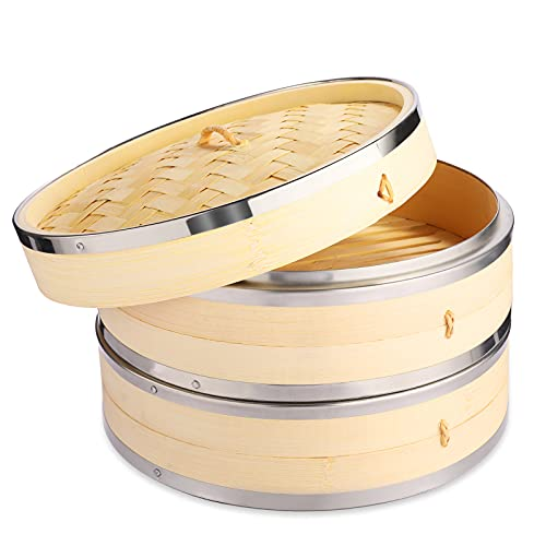 Vobeiy Vaporera Bambu con Tapa 2 Niveles,Premium Natural Vapor Bambu con Bandas de Acero Inoxidable,Olla de Vapor de Bambú clásico,Reutilizable Flexible Antiadherente,21CM