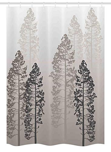 """Ambesonne Country Stall Shower Curtain, Pine Trees in The Forest on Foggy Seem Ombre Backdrop Wildlife Adventure Art, Fabric Bathroom Decor Set with Hooks, 54"""" X 78"""", Light Yellow"""