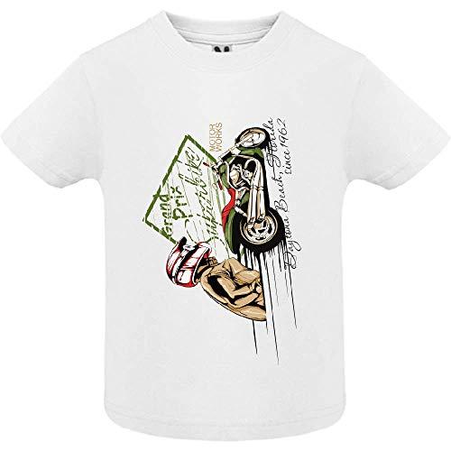 LookMyKase T-Shirt - Super Bike Rider - Bébé Garçon - Blanc - 18mois