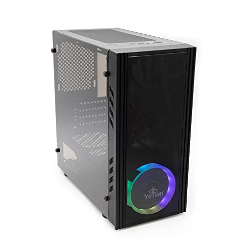 Yeyian Kalt 1101 Caja de ordenador sobremesa-Gaming ((Materiales ABS), SPCC, Negro, Micro ATX, negro(YNH-K1101))