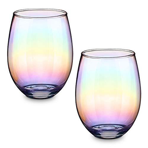 CNNIK Vasos de vaso iridiscentes, para agua, jugo, whisky, cóctel, 550 ml...