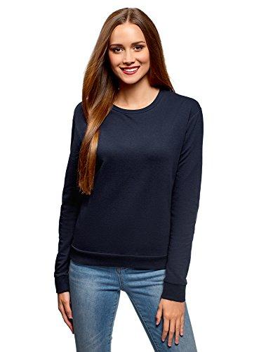 oodji Ultra Damen Baumwoll-Sweatshirt Basic, Blau, DE 34 / EU 36 / XS