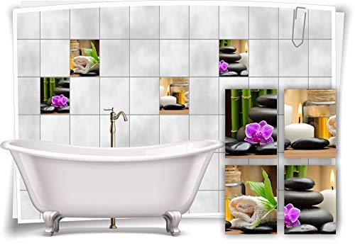 Medianlux Fliesenaufkleber Fliesenbild Orchidee Kerze Bambus Kräuter Steine Wellness SPA Aufkleber Deko Bad WC, 10x15cm