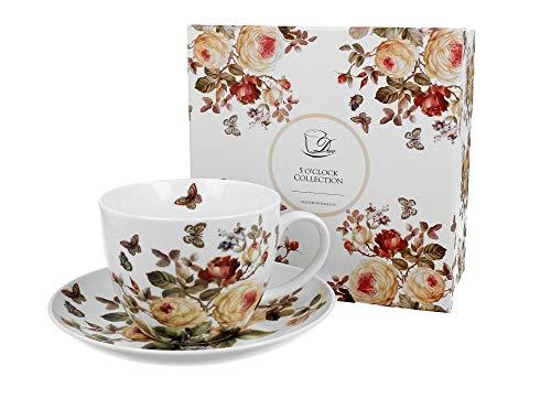 Duo Jumbotasse und Untertasse Zahra 470ml Riesentasse Unterteller große Kaffeetasse Kaffee-Tasse Jumbo-Tasse Riesen-Tasse Unter-Tasse Art Porzellan Unter-Teller Blumenmotiv Blumen