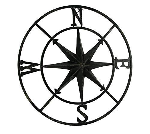 PD Home & Garden Distressed Metal Compass Rose Indoor/Outdoor Wall Hanging - Black