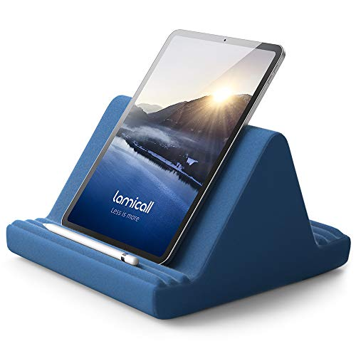 Tablet Halter Kissen, Lamicall Tablet Ständer - Kissenhalter Halterung Bett Sofa für New 2020 iPad Pro 9.7, 10.5, 12.9, iPad Air Mini 2 3 4, Switch, Samsung Tab, iPhone, Bücher, andere Tablet - Blau