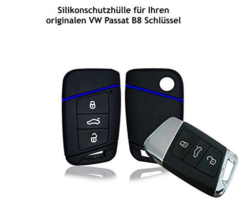 Wagners Hülle für VW Passat B8 Typ 3G 3-Tasten Autoschlüssel - Silikon Schlüssel Schutzhülle in Schwarz - Etui Schlüsselhülle Cover für Keyless - Go (schwarz/blau)