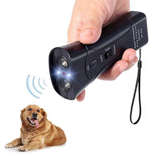Alfaw Ultrasonic Dog Repeller, Electronic Anti Barking Stop Bark Handheld 3 in 1 Pet Dog Trainer with LED Flashlight, Dog Training Device for Your...