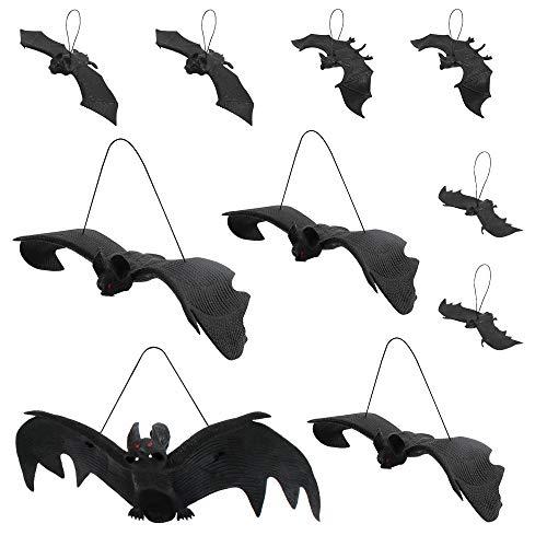 Heqishun Halloween Bat Decoration 10 Pcs Rubber Flying Hanging Bats for Halloween Party Favors Decoration