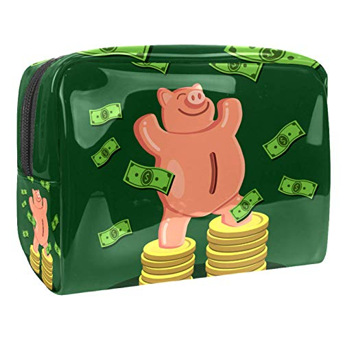 Luggage Cosmetic Cases Funny Pig Dollar Money Portable Travel Makeup Cosmetic Bags Organizer Multifunction Case Toiletry Bags for Women 7.3x3x5.1in