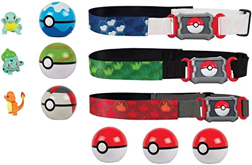 GENRA Pokemon Clip 'N' Go Pokémon Master Poké Ball Set (x3 Belts - x3 Figures -x6 Poké Balls) Bulbasaur, Charmander & Squirtle Figures