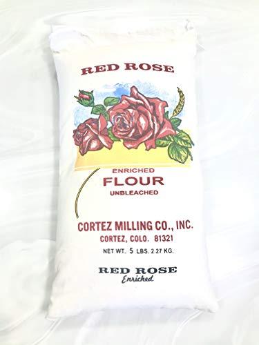 Cortez Milling Unbleached Red Rose Flour 5 Pound Cloth Bag