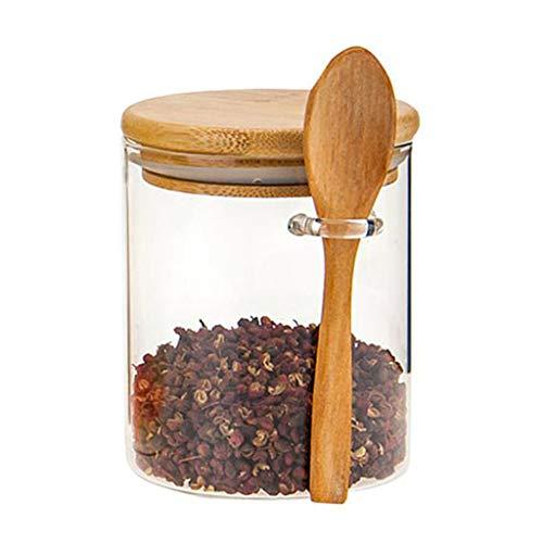 BINGBIAN Azucarero con tapa de bambú y cuchara de cristal transparente tarro de almacenamiento para la cocina