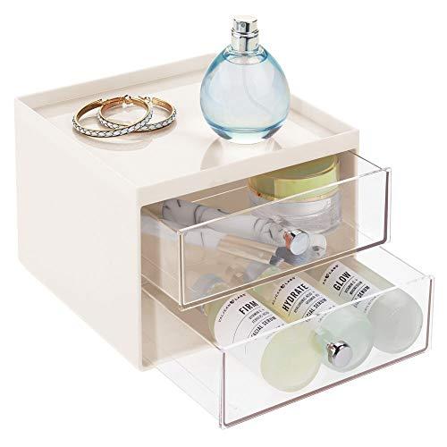 mDesign Make-up Organizer – stapelbare Aufbewahrungsbox mit 2 Schubladen für Mascara, Puder, Nagellack und mehr – Schubladenbox für Badezimmer, Schminktisch oder Büro – beige und durchsichtig