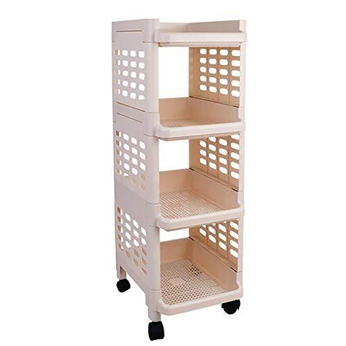 YINGGEXU Plataforma De cuatro gradas Hollow plataforma de baño con ruedas - 33cm * 27cm * 79cm - Ahorro de espacio - multifunción esquina de almacenamiento en rack blanca montada en el piso