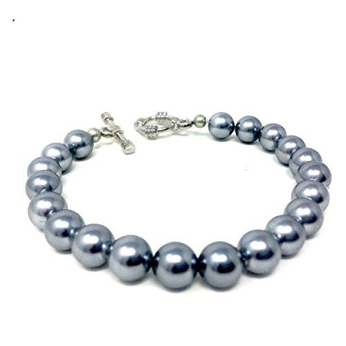 Bracciale realizzato con autentiche perle grigie di Maiorca - fatto a mano -