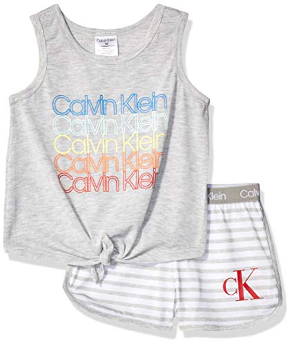 Calvin Klein Girls' Little 2 Piece Sleepwear Top and Bottom Pajama Set Pj, Grey, CK Heather Stripe, X-Large-14/16