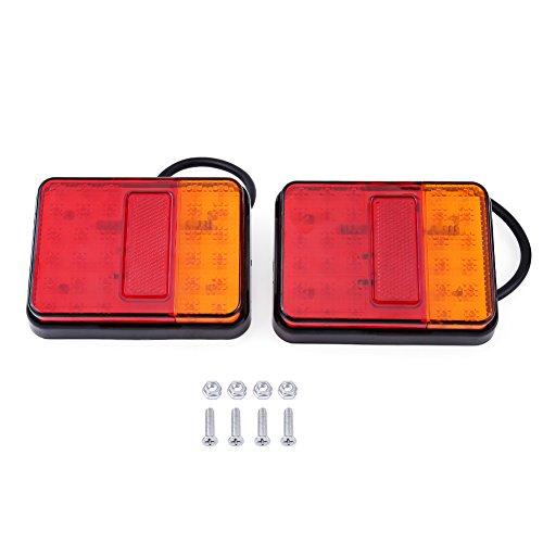 Qiilu 2 Piezas 12 V 30 Luces traseras LED luz de Advertencia Trasera luz Trasera para Remolque camión Rojo y ámbar