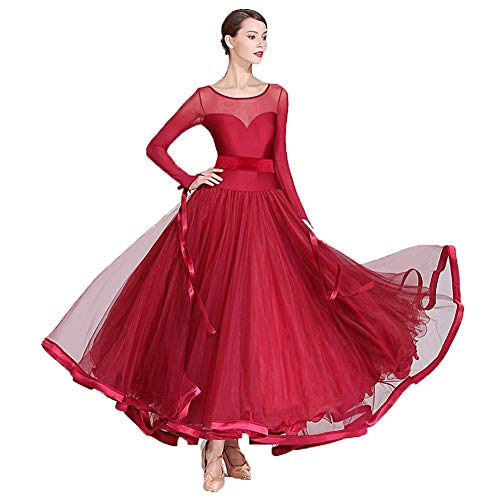 Abendkleid, Tanzrock Modernen Walzer Tango Flamenco Tanzrock, Kostüme Leistung Kleidung Nationalen Standard Tanzkleid Wettbewerbskleid Pettiskirt (Color : Wine red, Size : M)