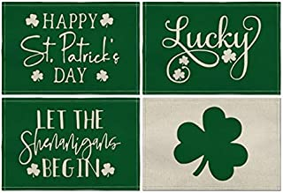 Artoid Mode St. Patrick's Day Quotes Green Placemat for Dining Table, 12 x 18 Inch Lucky Clover Shamrock Holiday Rustic Wa...