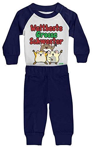 HARIZ Pijama para bebé con diseño de hermana y hámster, nacimiento, hermano, incluye tarjeta de regalo, color blanco/azul marino, 36-48 meses