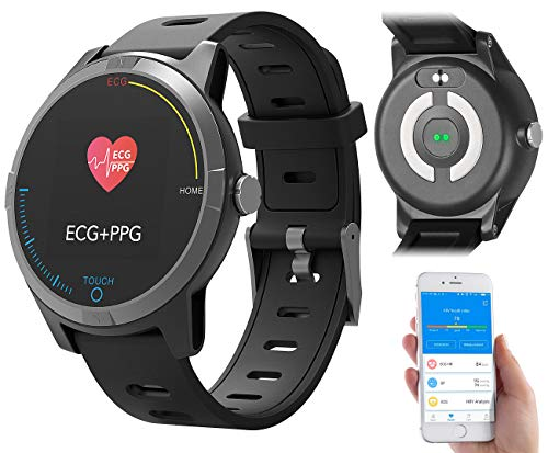Newgen Medicals Blutdruckuhr: Fitness-Uhr mit Bluetooth, Herzfrequenz- und EKG-Anzeige, App, IP67 (Fitness Uhr mit EKG Funktion)