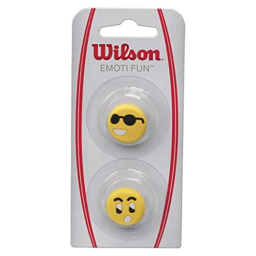 Wilson Vibrationsdämpfer für Tennisschläger, Emoti-Fun, 2er Pack, Emoticon-Design (Cool/Überrascht), gelb, WRZ538500