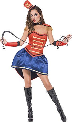 Smiffys Costume de Dompteuse haute qualité, rouge, avec jupe, corset, chapeau, col, épau