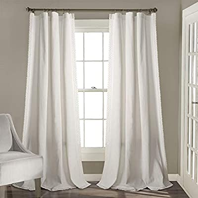 "Lush Decor White Rosalie Window Curtains Farmhouse, Rustic Style Panel Set for Living, Dining Room, Bedroom (Pair), 95"" x 54, 95"" x 54"""