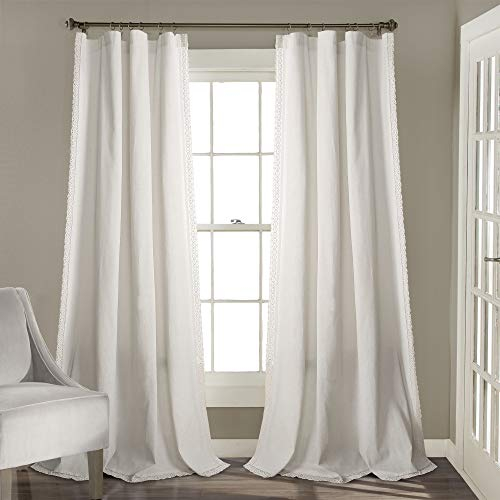 """Lush Decor White Rosalie Window Curtains Farmhouse, Rustic Style Panel Set for Living, Dining Room, Bedroom (Pair), 95"""" x 54, 95"""" x 54"""""""