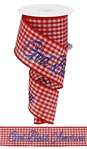 """Patriotic Ribbon - God Bless America Red Gingham Check - Wired Edge 2.5"""" x 10 Yards"""