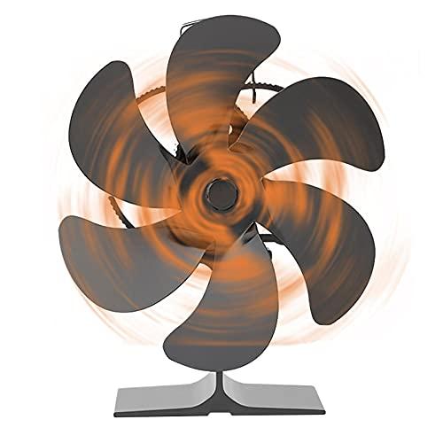 N-X Ventilador de estufa de 6 cuchillas de actualización de ventilador de calor para estufa de leña, quemador de leña, ventilador ecológico y eficiente
