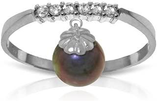 14k Gold Genuine Diamonds and Black Pearl Charm Ring