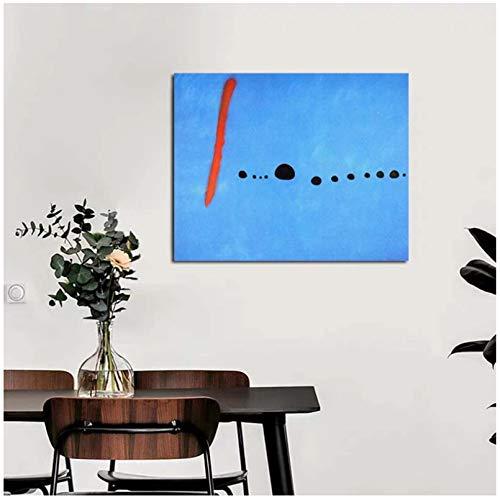 LIUXR Póster de Arte de Pared Azul Abstracto de Joan Miró, Cuadros de Pintura en Lienzo, impresión en Lienzo para decoración del hogar, Regalo de decoración, 20x24 Pulgadas, sin Marco, 1 Uds.