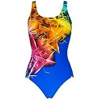 Marine - Bañador Deportivo de Mujer, de natación con Motivos geométricos (Azul Cobalto, 42)