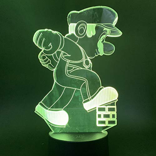 zhkn Kreative Digitaler Wecker Base Nachtlicht Mario Bild 3D Led 7 Farben USB Power Nachtlicht Atmosphäre Lampe Für Hauptdekoration Und Kind Geschenk