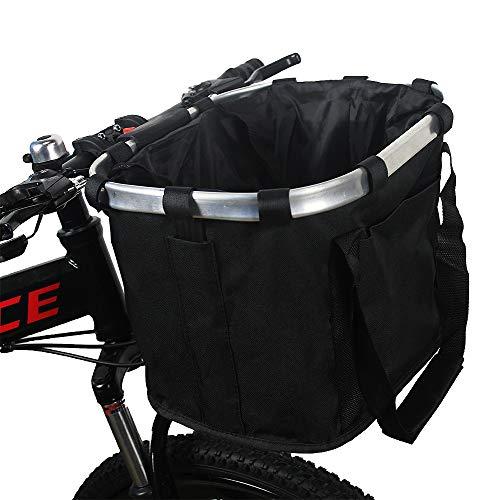 Lafalink Fahrradkorb vorne, Faltbar Fahrrad vorne Korb, mit Lenkeradapter, Easy Install Abnehmbare Lenkerkorb Tasche für Kleiner Hund Einkaufen Picknick (schwarz)