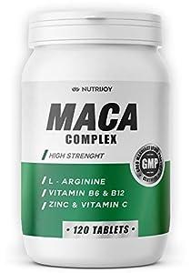 NutriJoy Maca - 120 Comprimidas | Maca Andina Poderosa y L-Arginina | Vitaminas y Zinc | Maca Asimilación Rápida