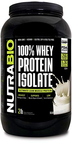 NutraBio 100% Whey Protein Isolate (Unflavored, 2 Pounds)