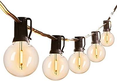 Led G40 Outdoor String Lights 50Feet Patio Lights with 51 Led Shatterproof Bulbs(1 Spare), Weatherproof Commercial Hanging Lights Backyard Bistro Deck Party Decor, E12 Socket, 2700K, Black