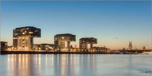 Posterlounge Acrylglasbild 100 x 50 cm: Kölner Skyline mit Kranhäusern und Dom (Panorama Format) von Michael Valjak - Wandbild, Acryl Glasbild, Druck auf Acryl Glas Bild