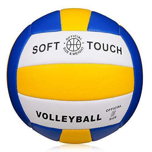Beachvolleyball Soft Touch Volleyball für Outdoor/Indoor Spielbälle Größe 5,blau-gelb-weiß