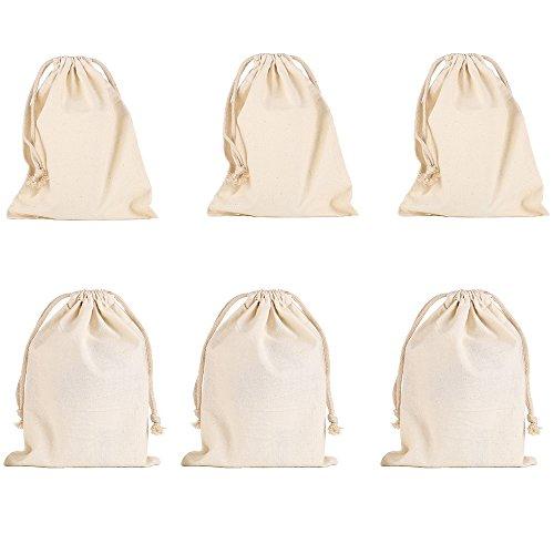 vientiane Bolsas De Algodón con Cordón Ajustable, 6 Piezas Bolso Pequeño Bolso De Boda Bolso Bolsa De Regalo Bolso De Cumpleaños (16 * 18cm) (20 * 30cm)