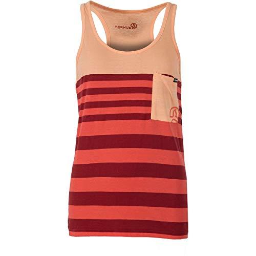 Ternua W Cebu T-shirt gestreept oranje-rood, dames top, maat M - kleur Flame Washed