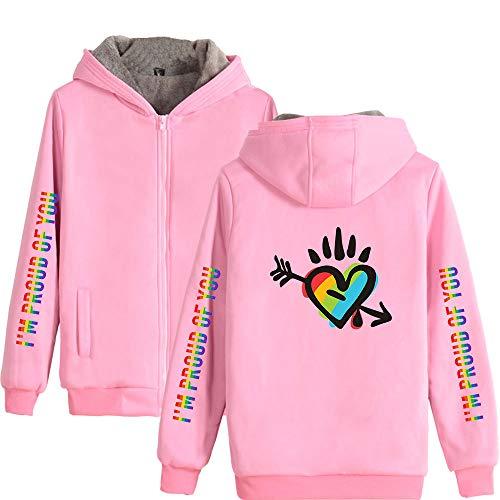LGBT Gay Lesbian Pride Chaqueta con Capucha Forro Polar Sudadera con Capucha con Cremallera de Manga Larga Otoño-Invierno Cálido Cárdigan Abrigo Outwear