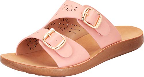 Cambridge Select Damen Slip-On Two Strap Laser Cutout Flat Slide Sandale, Pink (Pink Pu), 39 EU