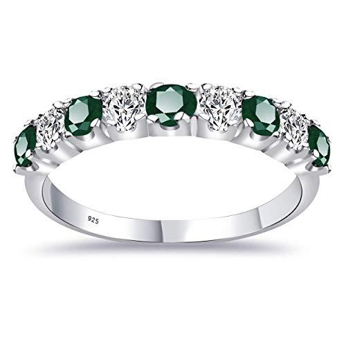 1.18 Ct Redonda Verde Esmeralda 925 Plata Esterlina Regalos De Cumpleanos Banda Par Orchid Jewelry